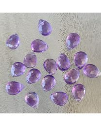 Amethyst facetgeslepen brioletten, medium 7 a 10 mm, per stuk