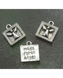 "Zilver plate bedel Engel in kader ""made for an angel"", 12 x 13 mm"